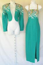 VINTAGE 1960s 70s MOD DRESS BOLERO JACKET ORO SOLO OCEAN GREEN CORAL