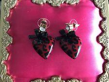 Betsey Johnson School Girl Lucite Red & Black Leopard Heart Bow Earrings RARE