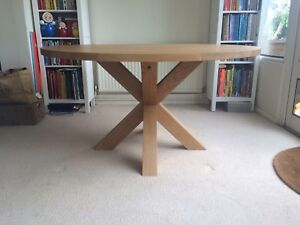 1500mm / 150cm - SOLID OAK ROUND CROSS LEG TABLE - HANDCRAFTED - MADE TO ORDER