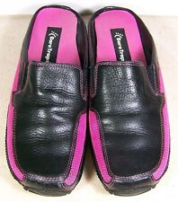 Bare Traps Rowan Pink and Black Leather & Fabric Slip Ons Walking Shoes 8M
