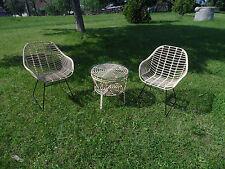 Vintage Sessel und Tisch Rattan