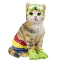Beach Cat Kitten Figurine - Adorable in Bathing Suit and Scuba Gear Costume
