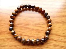 "New TIGERS EYE Gemstone Beads Bracelet 6"" Stretchable 1/4"" stones Boho Festival"
