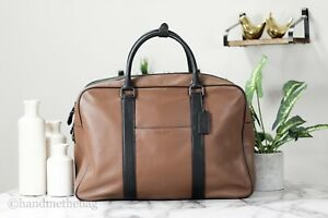 Coach F27614 Men's Smooth Leather Overnight Saddle Top Handle Crossbody Bag