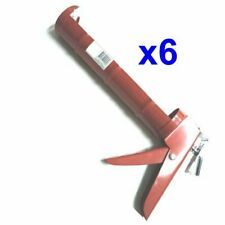 6 x CAULKING GUN 9 INCH BARREL TYPE RED COLOR