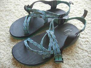 Chaco Women's Z/1 Sport Sandals Blue/green/purple pattern, 2 strap Size 5