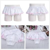 Sissy Skirted Panties Mens Shiny Bowknot Briefs Ruffled Bikini Lined Underwear
