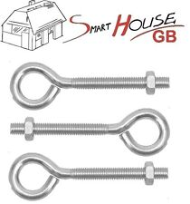 M8 M10 Galvanised FOLDED STRAINING EYE BOLTS WITH HEX NUTS Zinc Plated