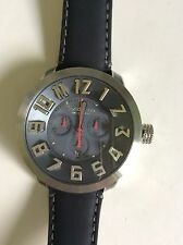 Tendence Swiss Made Watch Grey Dial Chrono Black Leather Strap LS470052