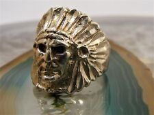 Vintage Sterling Silver Native American Indian Chief Headdress RING Size 8