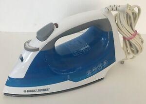 Black & Decker White * Blue  Steam Iron Model IR03V AS IS Condition E1