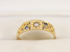 Diamond sapphire and Pearl Ring 18ct Gold Ladies 750 Victorian Size N 1/2 Q80