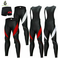 Mens Cycling Bib Tights Long Compression Pants 4D Gel Padded MTB Road Bike
