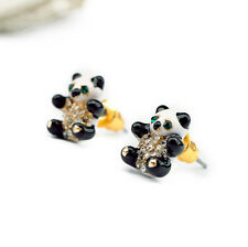 NEW * Urban Anthropolo​​gie Enamel Panda Green Emerald Rhinestone Earrings