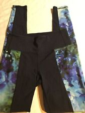Athleta Small Tall Navy Floral High Rise Chaturanga Bloom Tights Euc