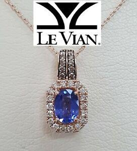 "1.33 ct LeVian® Oval Sapphire Halo Chocolate Diamond Pendant 22"" 14K Rose Gold"