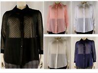 Women's Sheer Chiffon Full Sleeve Collar Shirt Dobby Blouse, Plus Size 14-32