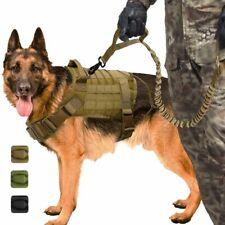 Military Tactical Dog Harness Working Dog Vest Leash Lead Training Medium Large