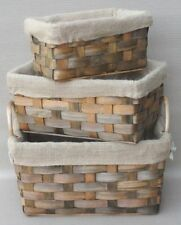 Unbranded Wicker Rectangular Decorative Baskets with Liners