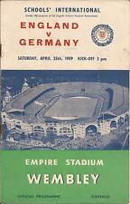 England v Germany - Schools' International - 25/4/1959 - Football Programme