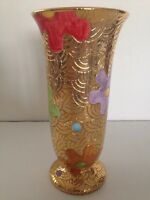 "New Ceramic Vase Hand Made In Deruta Italy 24k Gold Multi Color Floral 8"" H"