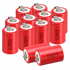 NEW 12pcs NiCd 4/5 SubC Sub C 1.2V 2200mAh Ni-Cd Rechargeable BatteryTab Red