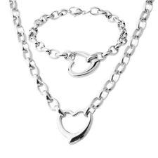 "Women Silver Stainless Steel Heart pendant Chain 18"" Necklace & 8"" Bracelet Set"