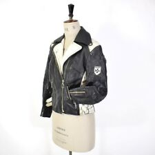 Women's Vintage 60 S Black Real Leather Hello biker Motorcycle Racing Jacket Punk 12