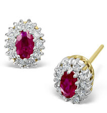 Ruby and Diamond Earrings Solid Yellow Gold Cluster Appraisal Certificate