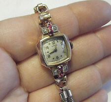 ESTATE 1940s DECO 14K ROSE GOLD EMPIRE SWISS LADIES WATCH DIAMONDS&RUBY WORKS