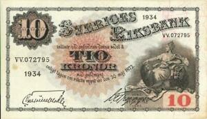 Sweden 10 Kronor Currency Banknote 1934 XF