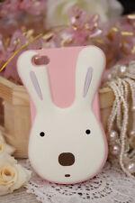cover morbida Iphone 4 e 4s a forma di coniglietto colore rosa e bianco