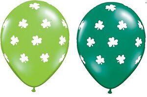St Patrick's Day Latex Balloons Green with White Shamrocks 2pk - Irish Party