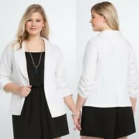 New Torrid Linen Blend Blazer in Cloud Dancer White Stretch Womens Plus Size 2