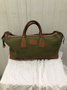 PICKETT BY TUSTING green Canvas And Brown Leather Medium Holdall Travel Bag