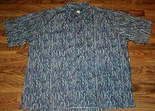 Mens COOKE STREET Short Sleeve Blue Purple Leaf Hawaiian Camp Shirt Sz 2XL