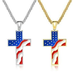 Mens Womens Stainless Steel American Flag Patriotic Cross Pendant Necklace Chain