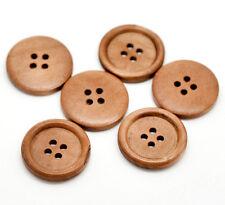 10x Runde Holzknöpfe, Hellbraun, 4 Löcher, 25mm basteln nähen DIY Kleidung rund