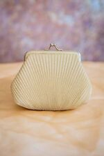 art deco vintage style clam shape mini clutch gold lurex shell shaped coin purse