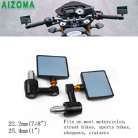 """Square Motorcycle CNC Bar End Side Rear View Mirrors Fit BMW Honda KTM 22MM 7/8"""""""