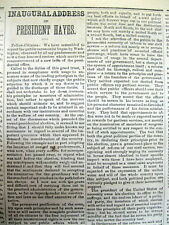 2 1877 newspapers INAUGURATION of RUTHERFORD B HAYES asUS PRESIDENT w His Speech