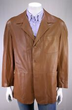 NWT New SULKA Brown Perforated Leather Patch Pocket Blazer Jacket 42/Large