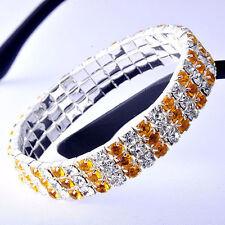 Womens Silver Tennis Bracelet White Gold Filled Orange Crystal Stretch Bracelet