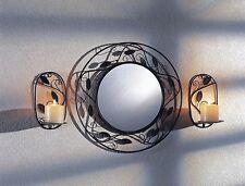 Wandspiegel schwarz + 2 Kerzenhalter Wandkerzenhalter Spiegel Flurspiegel Flur
