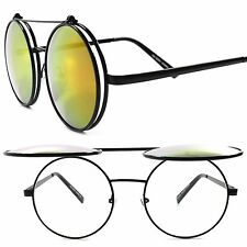 Django Inspired Indie Yellow Mirrored Lens Steampunk Round Flip Up Sunglasses