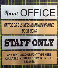 Personalised Metal Door Sign Office Business 200mm x 50mm Any Name Any Text Logo
