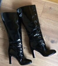 GORGEOUS ZARA BLACK PATENT LEATHER PULL ON BOOTS UK 7 EU 40 WORN TWICE!