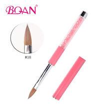 1Pc Acrylic Nail Art Brush Pink Rhinestone Handle  Pure Kolinsky Nail Tools 10#