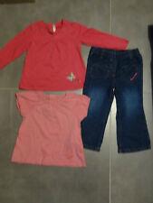 Tenue : jeans bleu poches cœur + 2 t-shirt rose 3 ans / 94 cm KIDKANAï