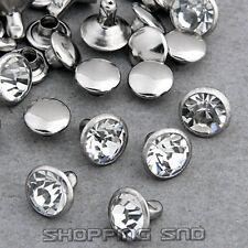 100 Sets 4mm Cz Crystals Rhinestone Rivets Rapid Silver Nailhead Spots Studs Diy